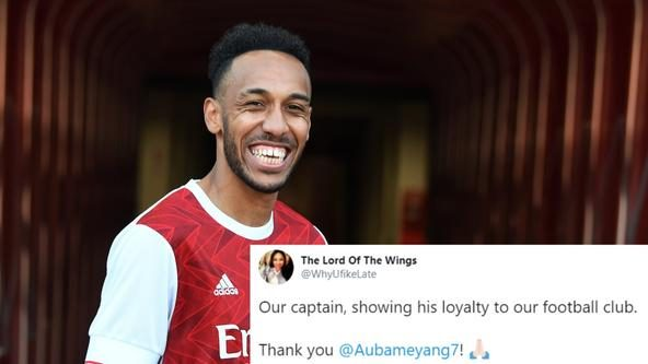 Arsenal fans are beaming as Aubameyang signs new deal